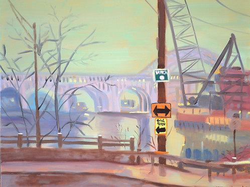 """""""Bridge in the Mist"""" - original oil painting 11 x 14"""""""