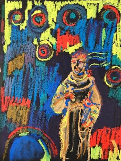 """Psychedelic Garden Monk""-original oil pastel-11 x 14"""