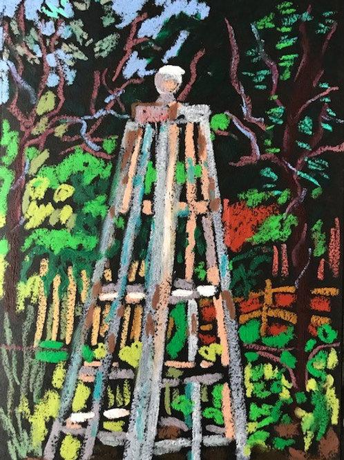 """Garden Obelisk""-original oil pastel-framed-8 x 10"""