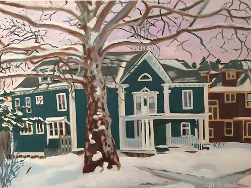 """Green House in Snow- Print 16 x 20"""""""