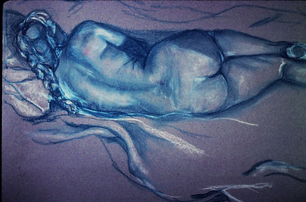 Nude-Pastel on grey paper-green-back vie