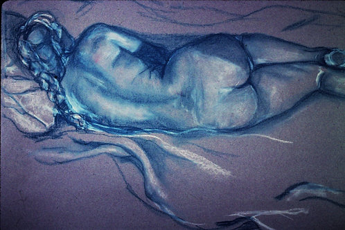 """""""Nude -resting, back view""""-Original pastel drawing - 18 x 24"""""""