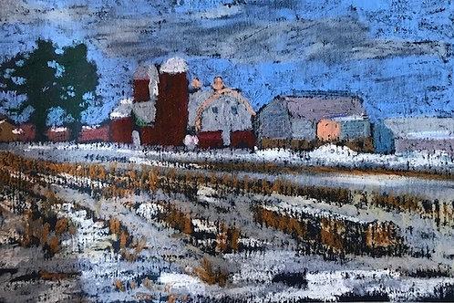 """Snowy Fields""-original oil pastel-6 x 8"""
