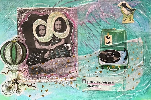 """""""Listen to Something Beautiful""""-original collage- 8 x 10"""" framed"""