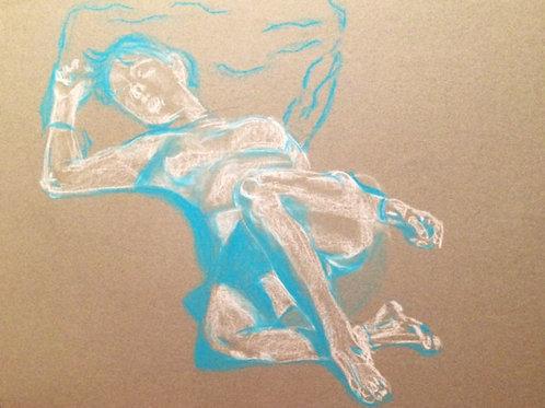 """Blue & White Nude - Paris"" original pastel drawing - 18 x 24"""