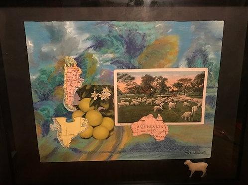 """Australia-Sheep Pasture""-original collage-framed-11 x 14"""