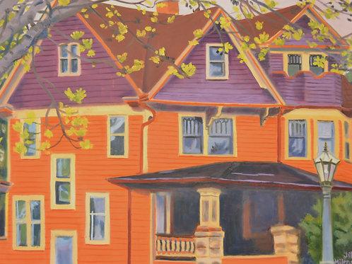 "Orange/Purple House  - print 16 x 20"""