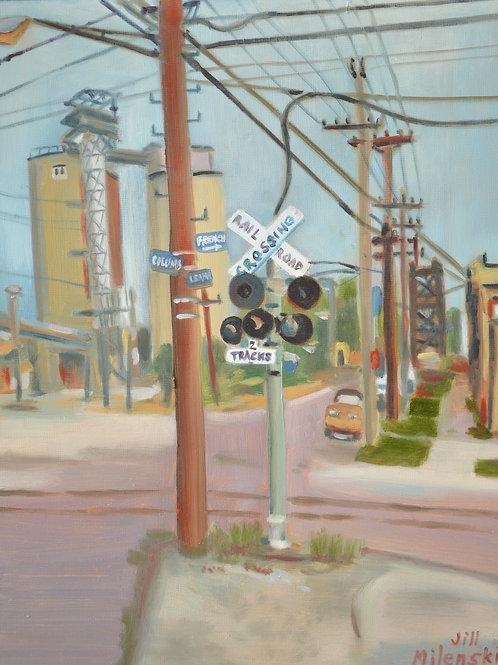 """Railroad Crossing - Flats"" - original painting"