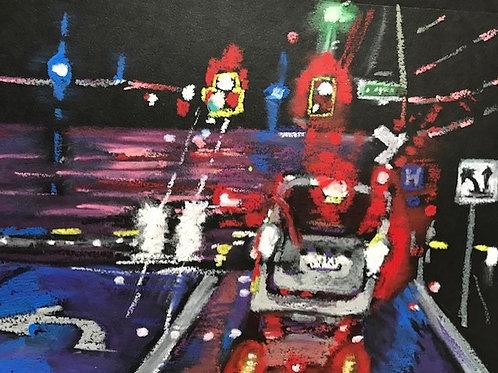 """""""Rainy Night Train Crossing""""-original oil pastel-framed-8 x 10"""""""
