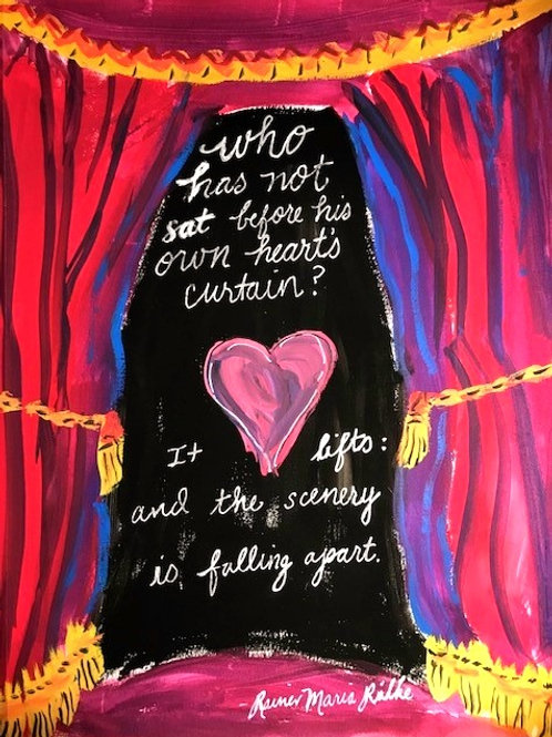 """""""Who has not sat before his own heart's curtain""""-print-11 x 14"""""""