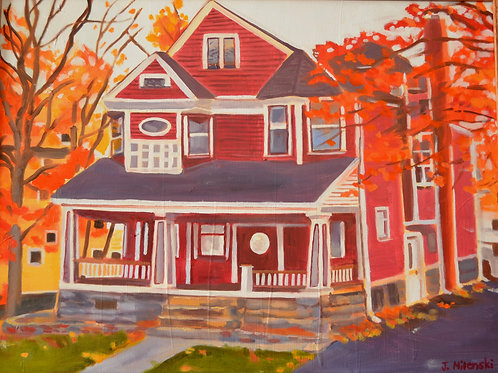 """Maroon House in Autumn- oil painting- 20 x 26"""""""