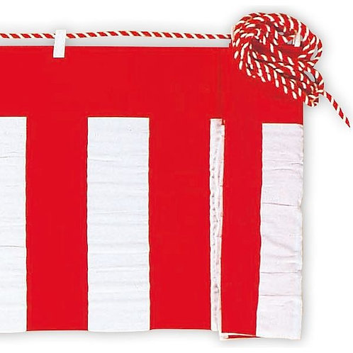 Red and white curtain 45 cm (with rope)