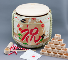 Kagami wari Set (Empty Wooden Sake barrel)