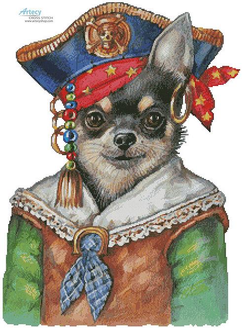 Chihuahua Pirate Cross Stitch Pattern