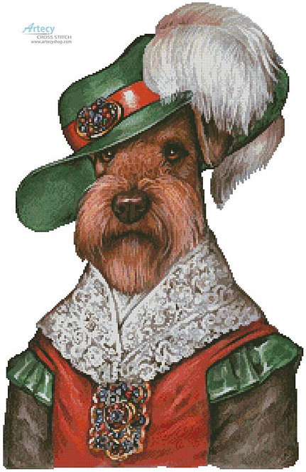 Airedale Terrier Cross Stitch Pattern (Musketeer)