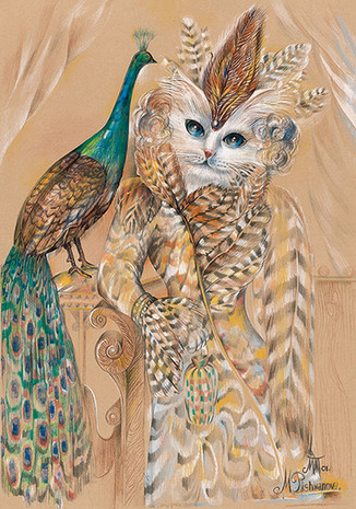 CAT AND THE PEACOCK