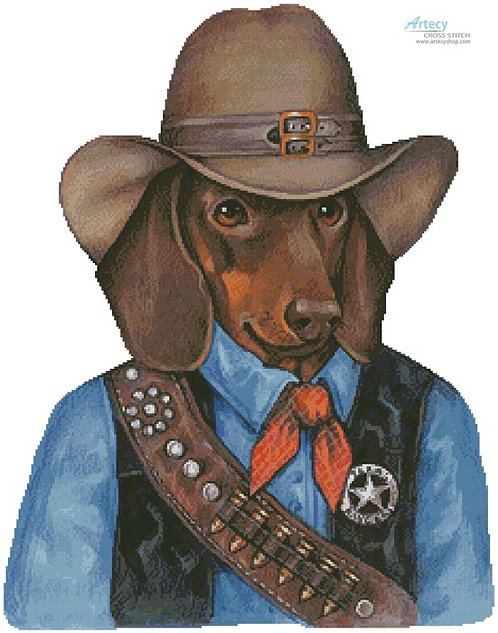 Doxie the Texas Ranger Cross Stitch Pattern