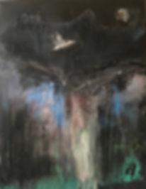 Vol de nuit, acrylique et huile sur toile,  92 x 73 cm, copyright Stéphanie Rebato