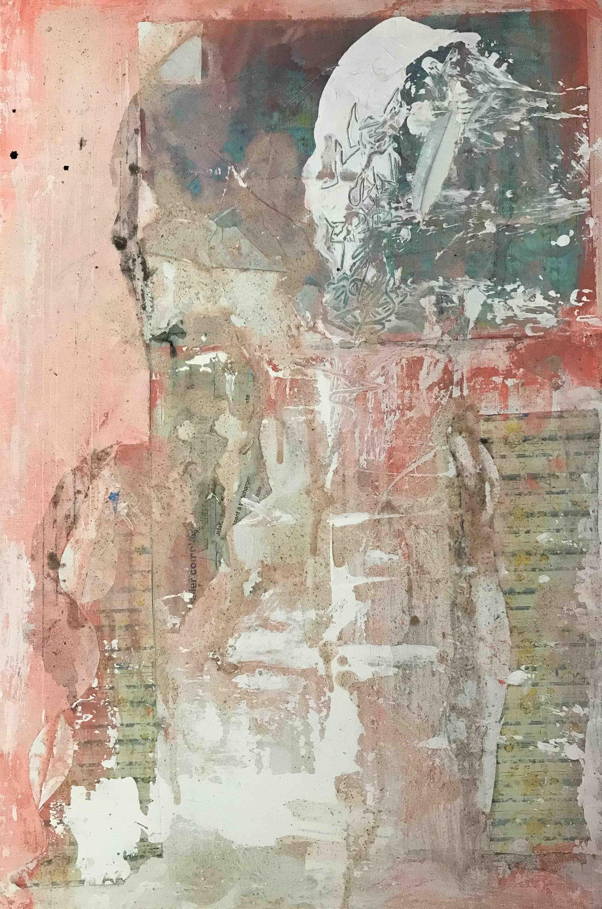 Rest, acrylque et papiers collés sur toile, 40 x 60 cm, 2017.