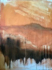 Le ciel dans la montagne,  116 x 81 cm, acrylique et huile sur toile, copyright Stéphanie Rebato