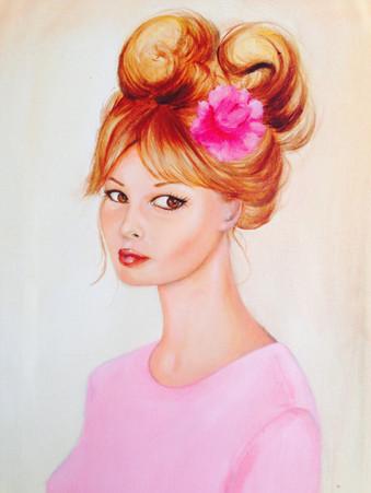 Miss sixties, Acrylique sur toile 39 x 29 cm 2015
