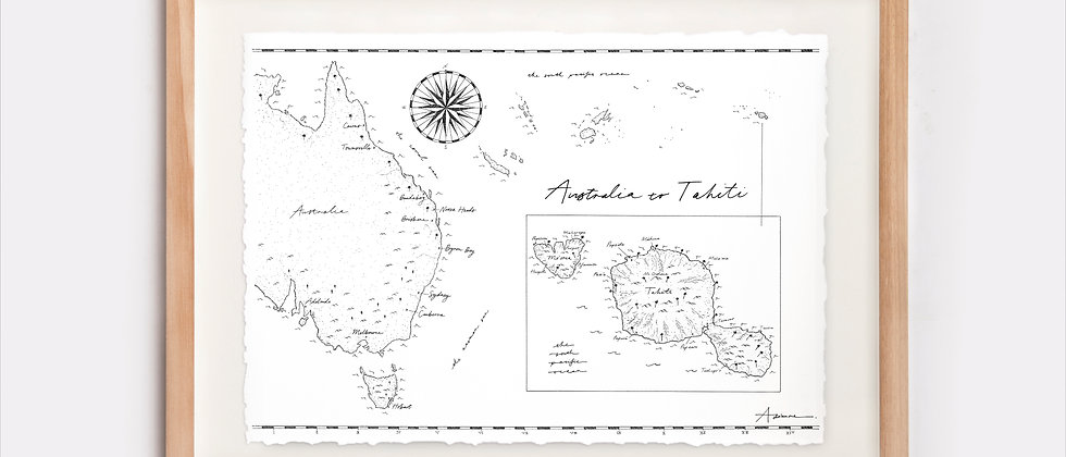 Australia to Tahiti Map Illustration Limited Edition Print