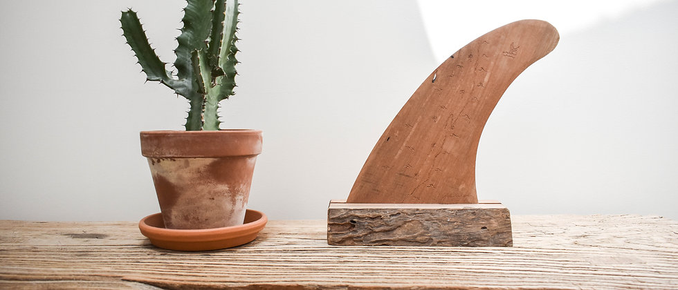 Engraved Wooden Single Fin with Stand