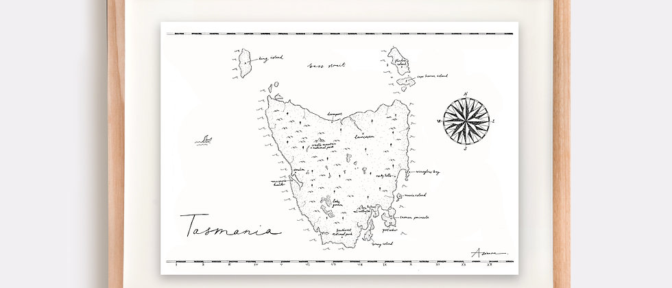 Tasmania Map Illustration Limited Edition Print