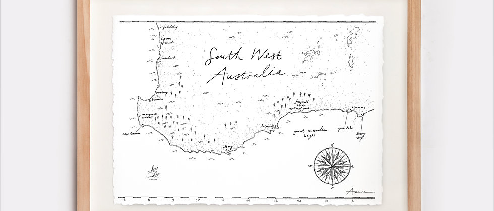 South West Australia Map Illustration Limited Edition Print