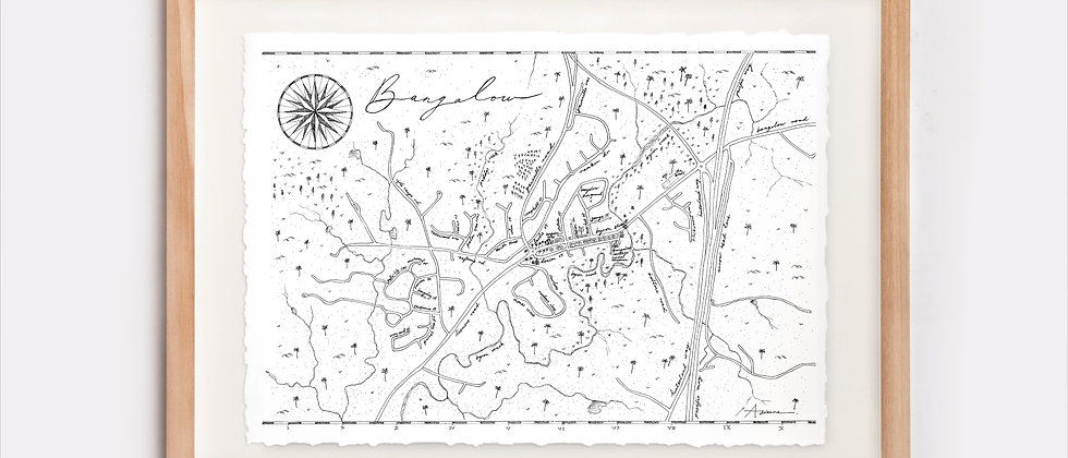 Bangalow Map Illustration Limited Edition Print