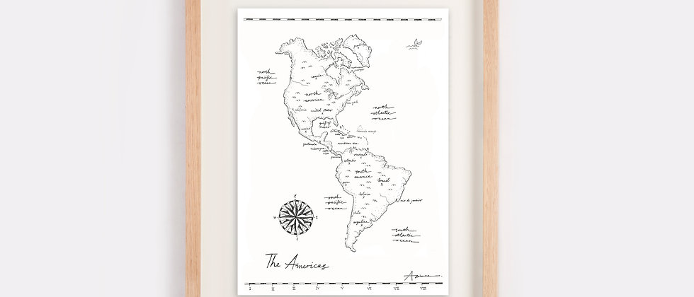 The Americas Map Illustration Limited Edition Print