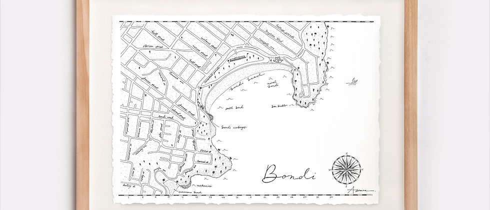 Bondi Map Illustration Limited Edition Print