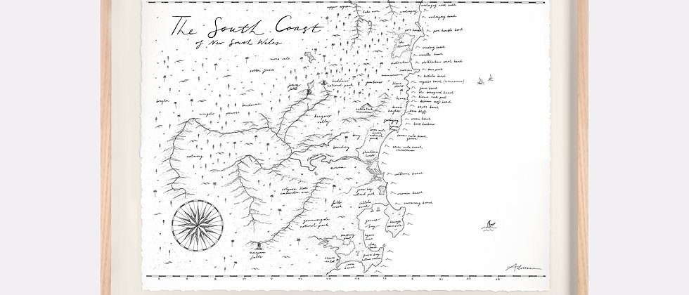 The South Coast, NSW Map Illustration Limited Edition Print