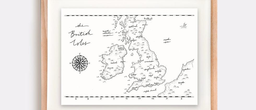 The British Isles Map Illustration Limited Edition Print