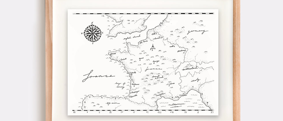 The France Map Illustration Limited Edition Print