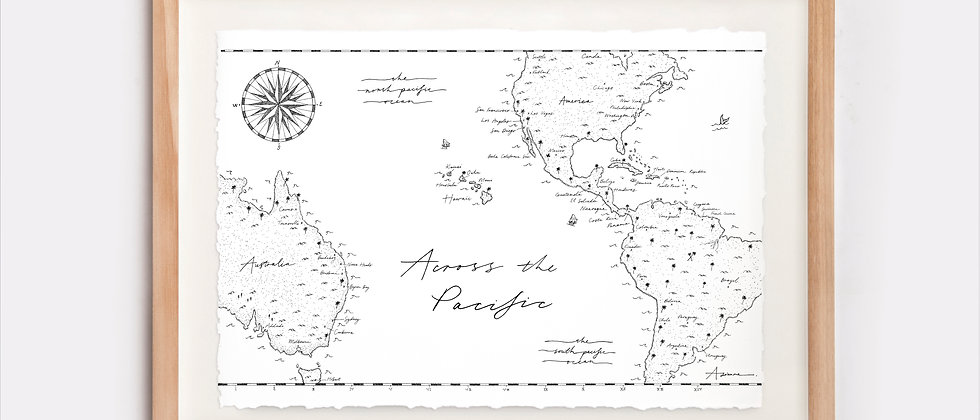 Across The Pacific Map Illustration Limited Edition Print