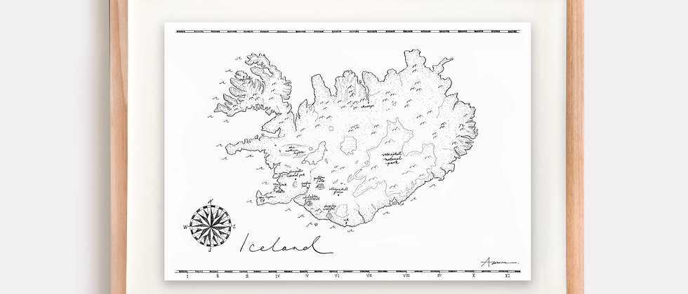 The Iceland Map Illustration Limited Edition Print