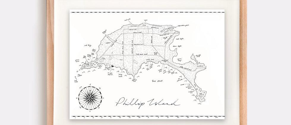Phillip Island Map Illustration Limited Edition Print