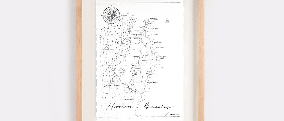 Northern Beaches Map Illustration Limited Edition Print