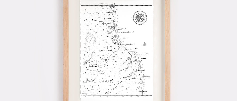 Gold Coast Map Illustration Limited Edition Print