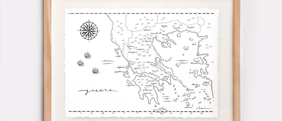 The Greece Map Illustration Limited Edition Print