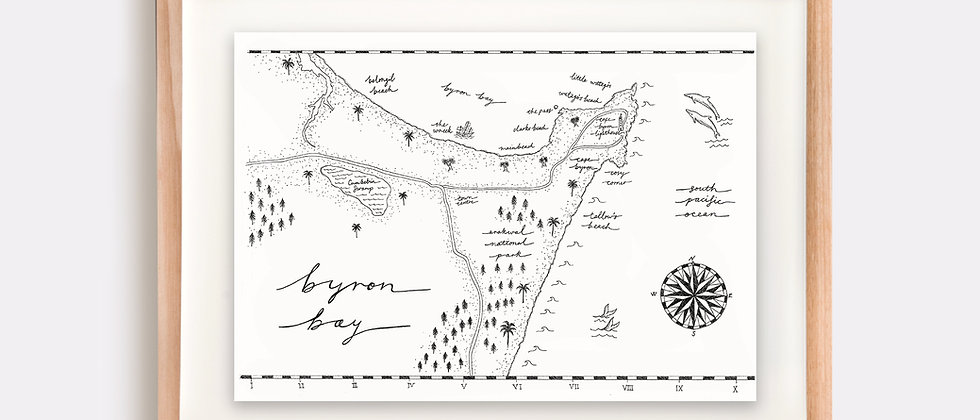 Byron Bay Map Illustration Limited Edition Print