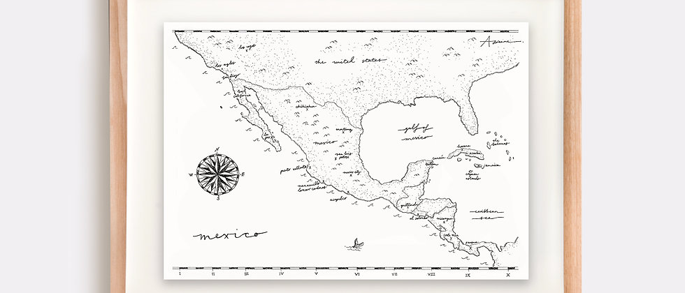 Mexico Map Illustration Limited Edition Print