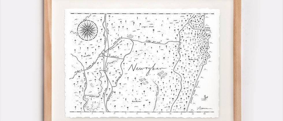 Newrybar Map Illustration Limited Edition Print