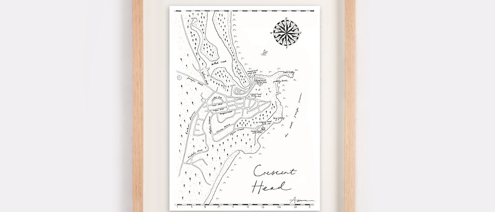 The Crescent Head Map Illustration Limited Edition Print