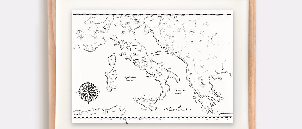 Italy Map Illustration Limited Edition Print