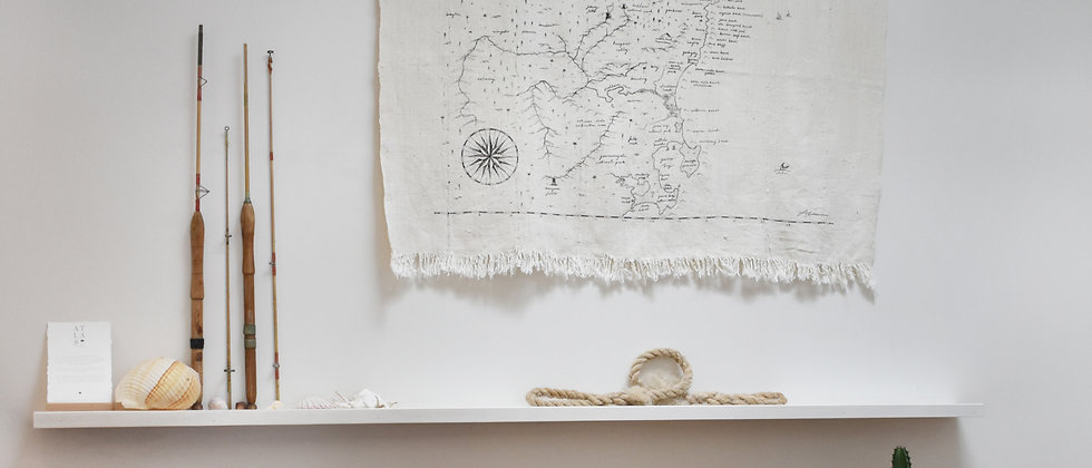 Large South Coast Map Wall Hanging