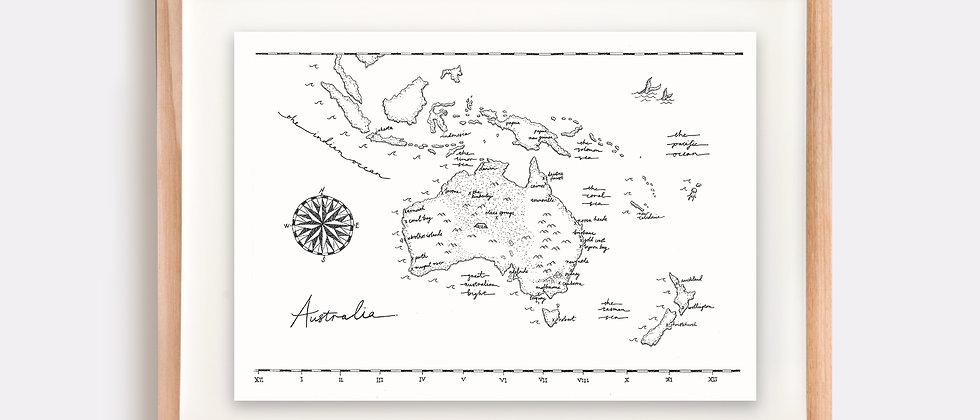 The Australia Map Illustration Limited Edition Print