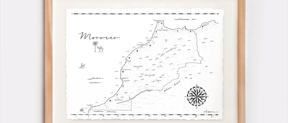 Morocco Map Illustration Limited Edition Print