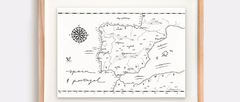 Spain & Portugal Map Illustration Limited Edition Print